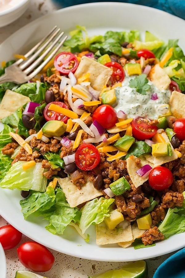 Turkey Black Bean Taco Salad on a serving plate.
