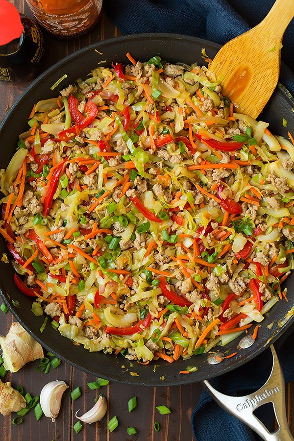 Egg Roll filling in a skillet made with cabbage, bell pepper, ground turkey and seasoning.
