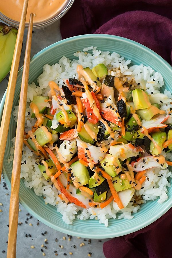 California Roll Sushi Ingredients in bowl of rice