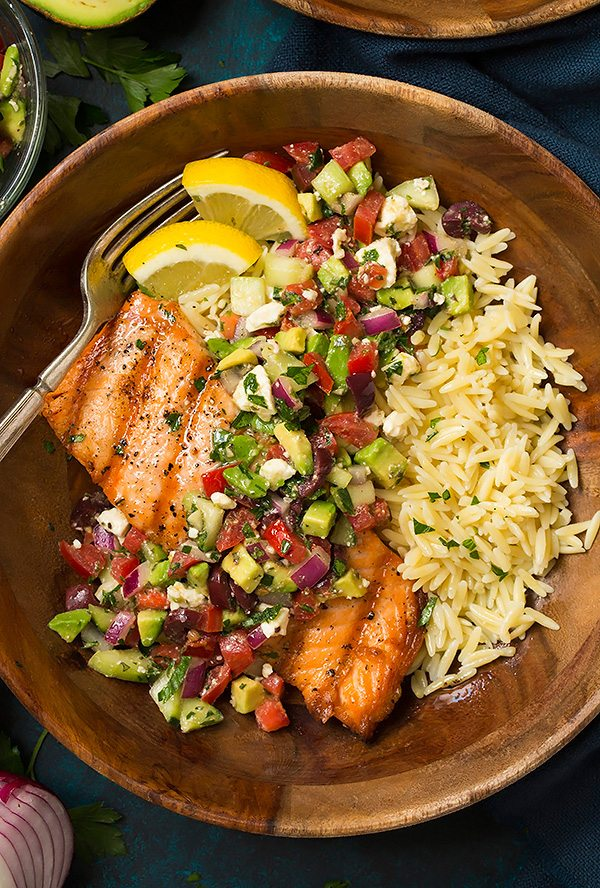 Grilled Salmon with Avocado Greek Salsa and Orzo