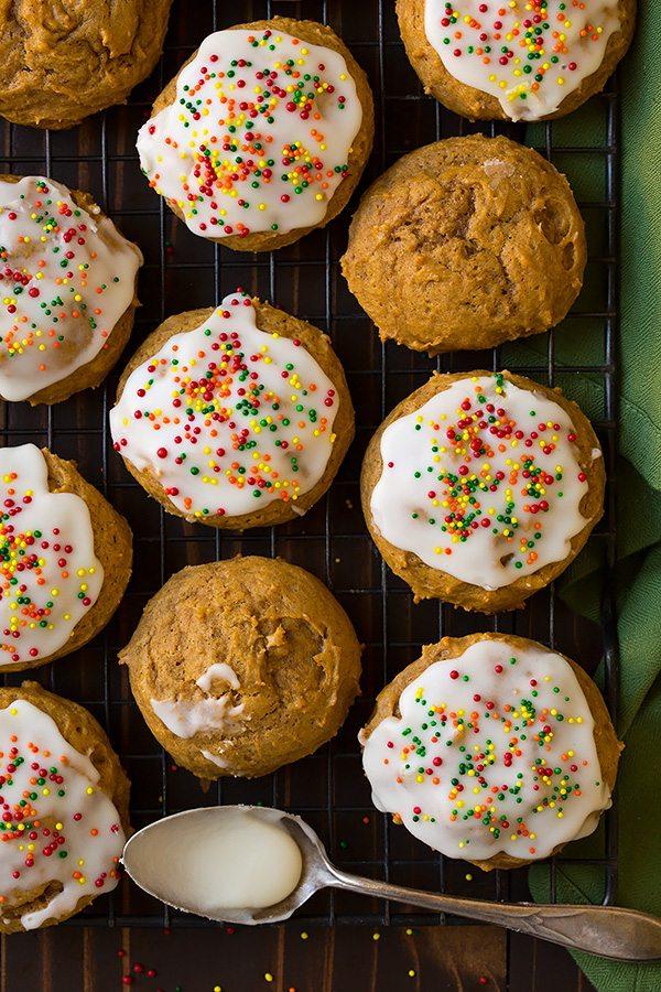 healthy iced pumpkin cookies