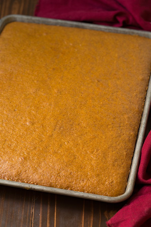 Pumpkin cake cooked in a sheet pan.