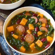 Turkey Sausage, Kale and Sweet Potato Soup | Cooking Classy