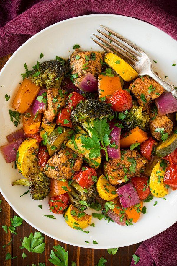 Balsamic Chicken and Veggie Sheet Pan Dinner