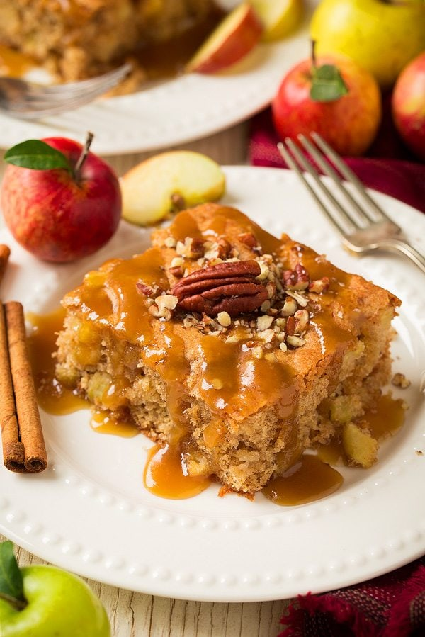 Apple cake with a caramel sauce served on a white plate that's decorated with apples and cinnamon sticks.