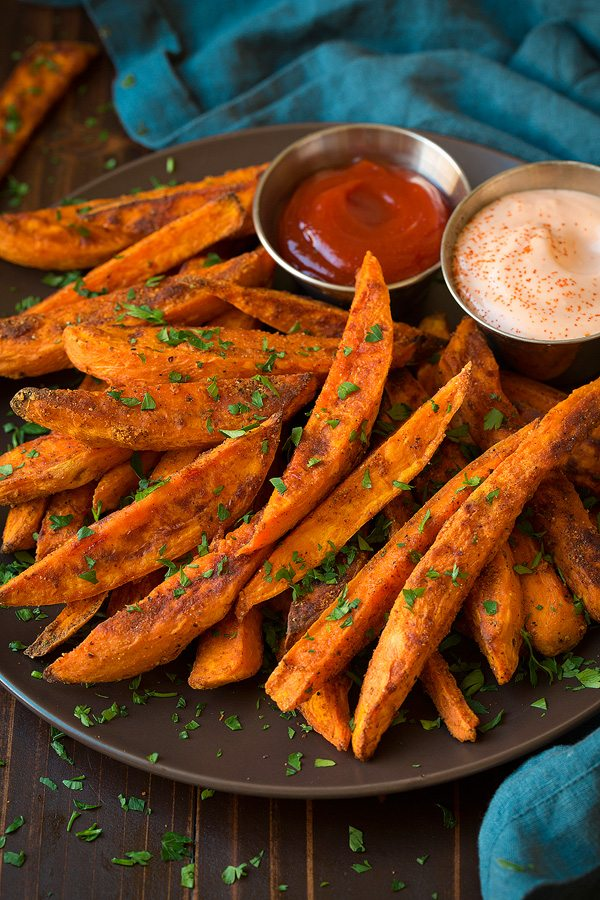 Sweet Potato Fries on a plate with dipping sauces