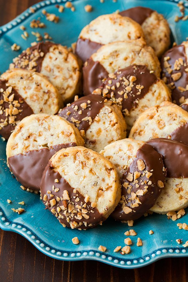 Chocolate Dipped Toffee Pecan Shortbread Cookies   Cooking Classy