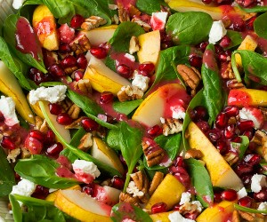 Pear Spinach Salad with Cranberry Orange Vinaigrette | Cooking Classy