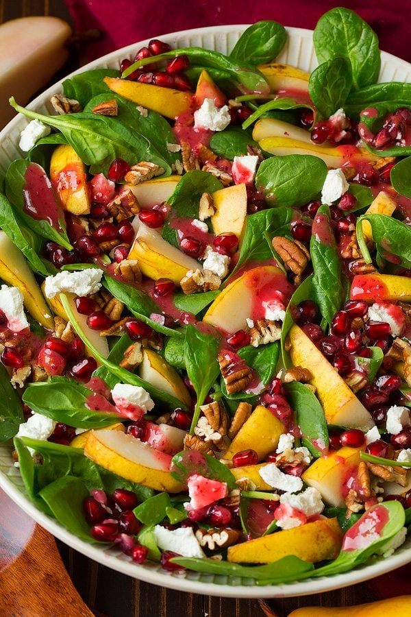 Pear Spinach Salad With Cranberry Orange Dressing Cooking Classy