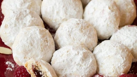 Raspberry Almond Snowball Cookies Jam Stuffed Snowballs