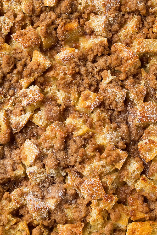 closeup of overnight French toast casserole bake