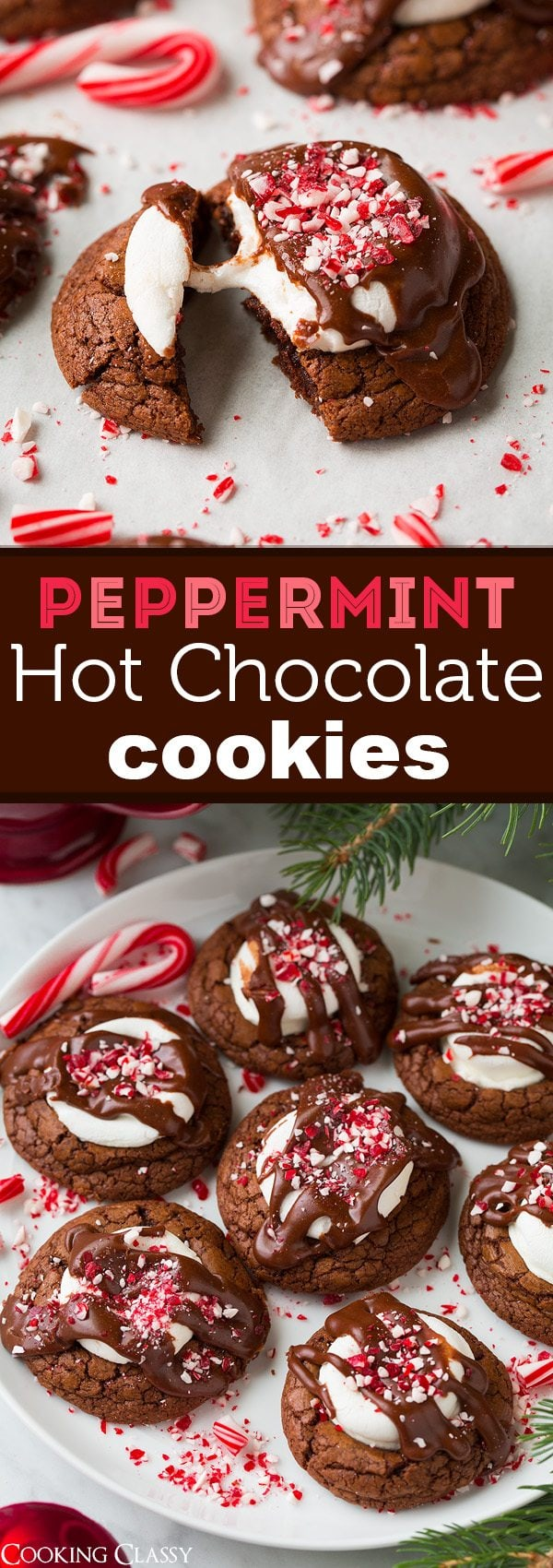 Peppermint Hot Chocolate Cookies | Cooking Classy