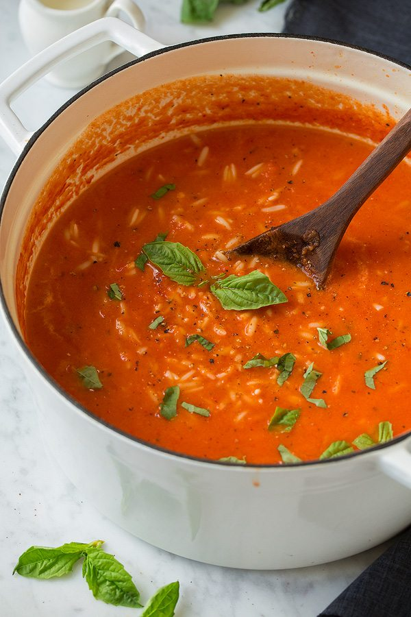 Creamy Roasted Red Pepper Tomato and Orzo Soup | Cooking Classy