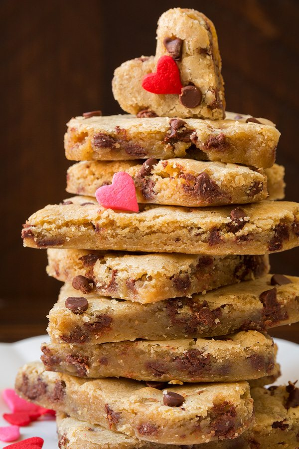 Stack of chocolate chip blondies.
