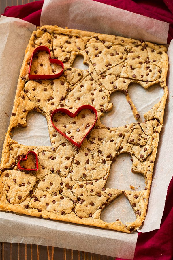 Blondies cut into heart shapes, they can also be cut into squares.