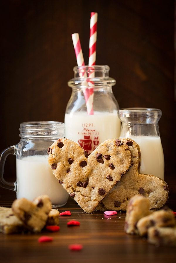 Blondie with chocolate chips cut into heart shape.