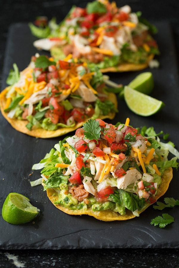 Easy Chicken Tostadas With Cheese, Lettuce, and Guacamole