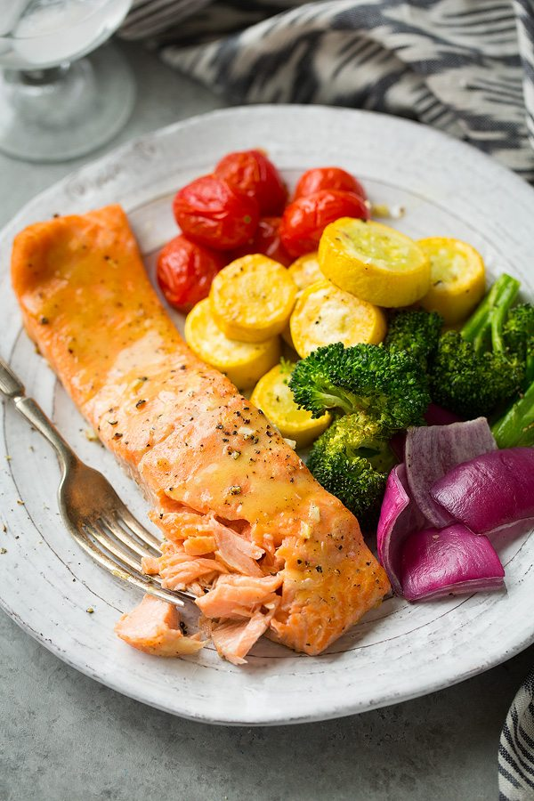 Sheet Pan Honey Mustard Salmon and Rainbow Veggies | Cooking Classy