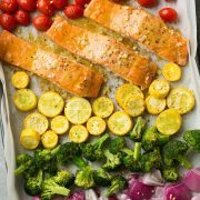 Sheet Pan Honey Mustard Salmon and Rainbow Veggies | Cooking Classy