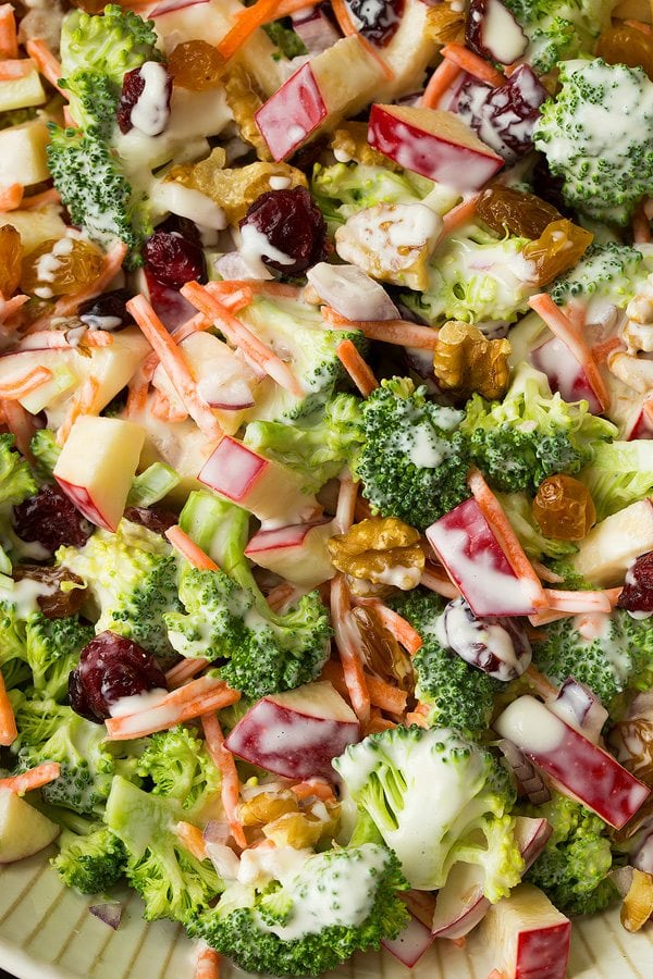Close up of a creamy Broccoli Apple Salad