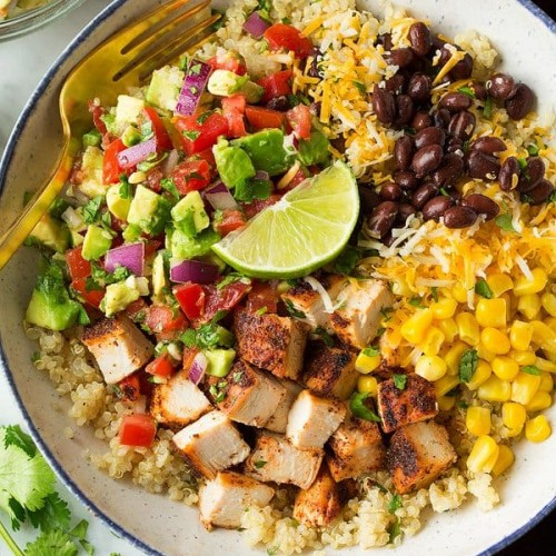 Grilled Chicken Burrito Bowls With Avocado Salsa Cooking Classy