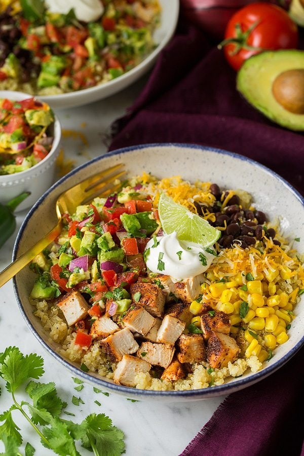 Grilled Chicken Burrito and Quinoa Bowls with Avocado Salsa   Cooking Classy