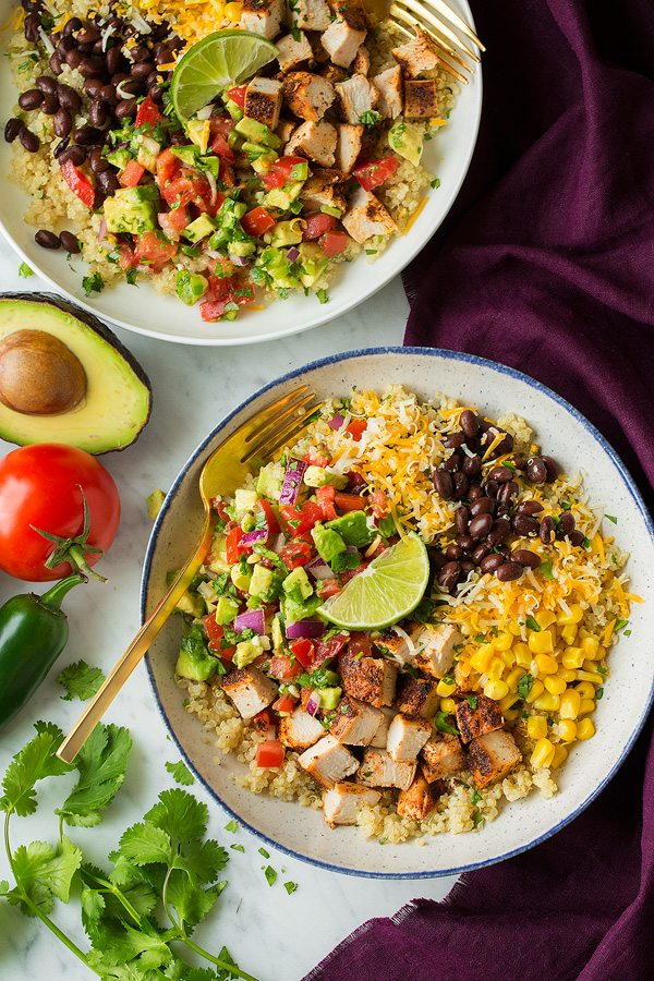 Burrito bowls with grilled chicken quinoa and veggies.