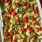 Sheet Pan Pesto Chicken with Asparagus Tomatoes and Walnuts | Cooking Classy
