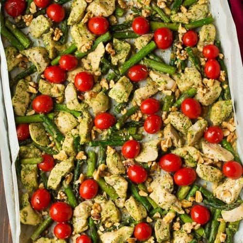 Sheet Pan Pesto Chicken With Asparagus Tomatoes Cooking Classy