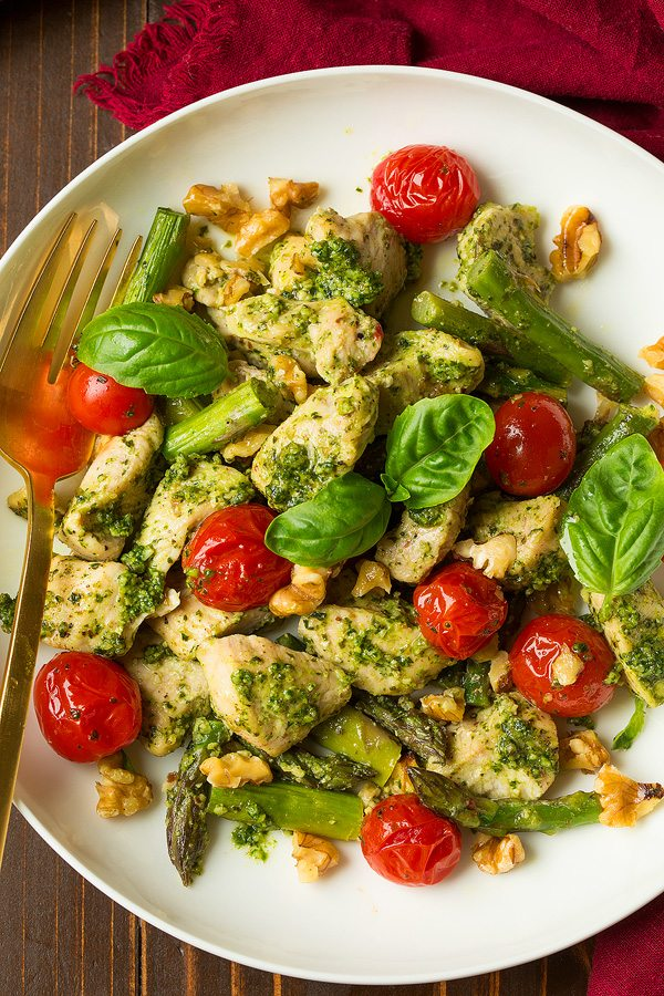 Roasted Pesto Chicken and Tomatoes on Plate