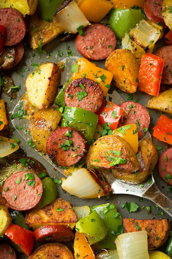 Sheet Pan Turkey Sausage Potato and Pepper Hash | Cooking Classy