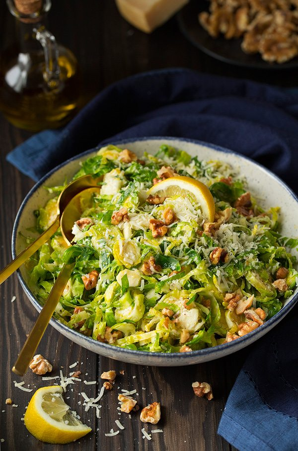 Shredded brussels sprout salad with romano cheese toasted for Shredded brussel sprout salad recipe