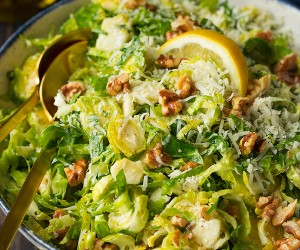Shredded Brussels Spout Salad with Romano, Toasted Walnuts and Lemon Vinaigrette | Cooking Classy