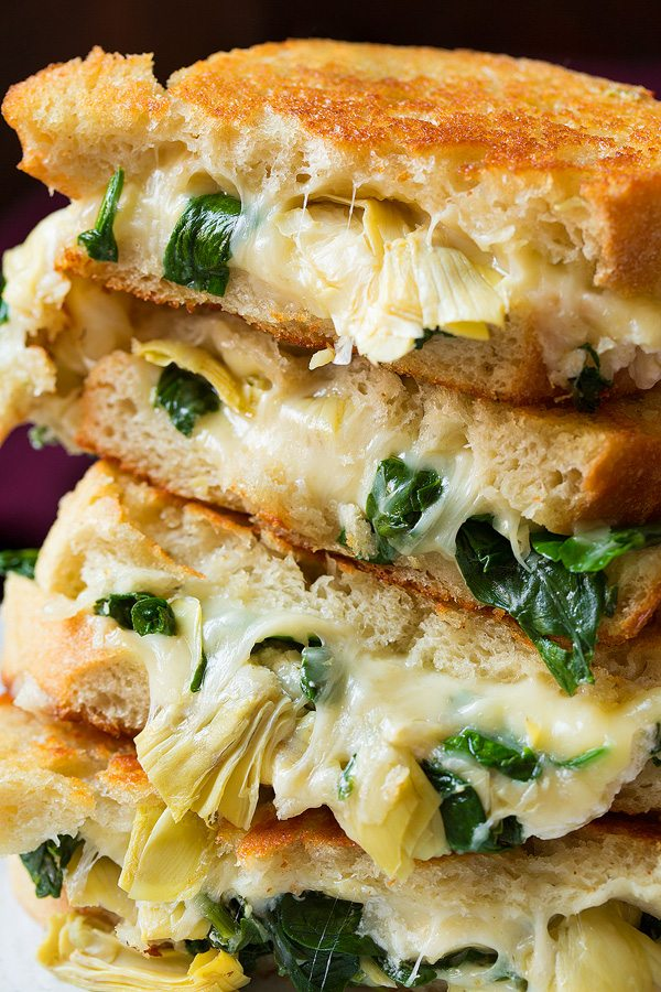 Spinach Artichoke Grilled Cheese | Cooking Classy