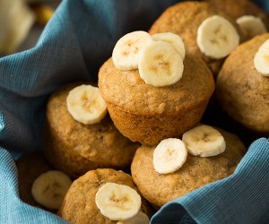 Healthier Whole Wheat Honey Banana Muffins | Cooking Classy