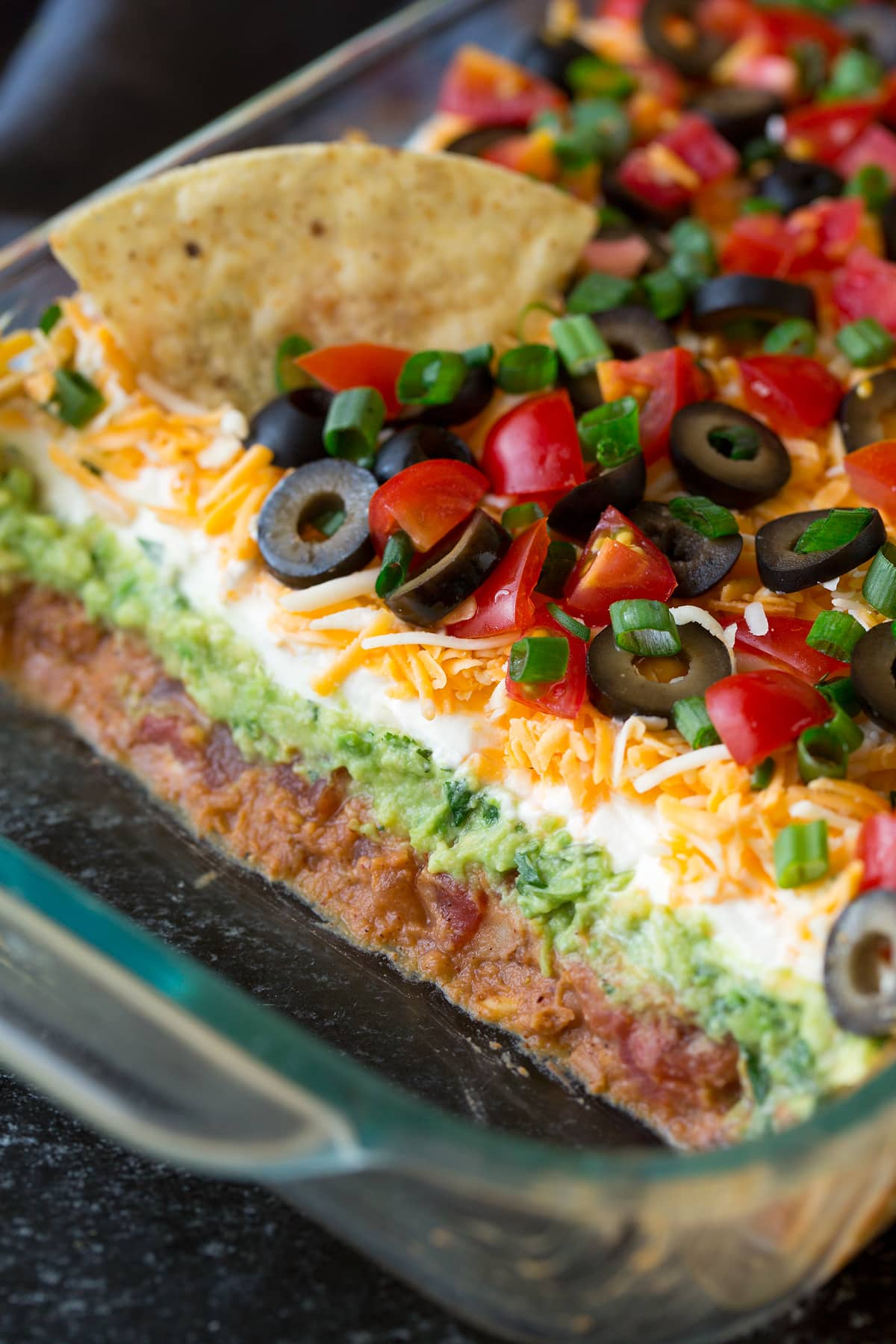 Close up image of 7 layer dip showing all the separate layers.