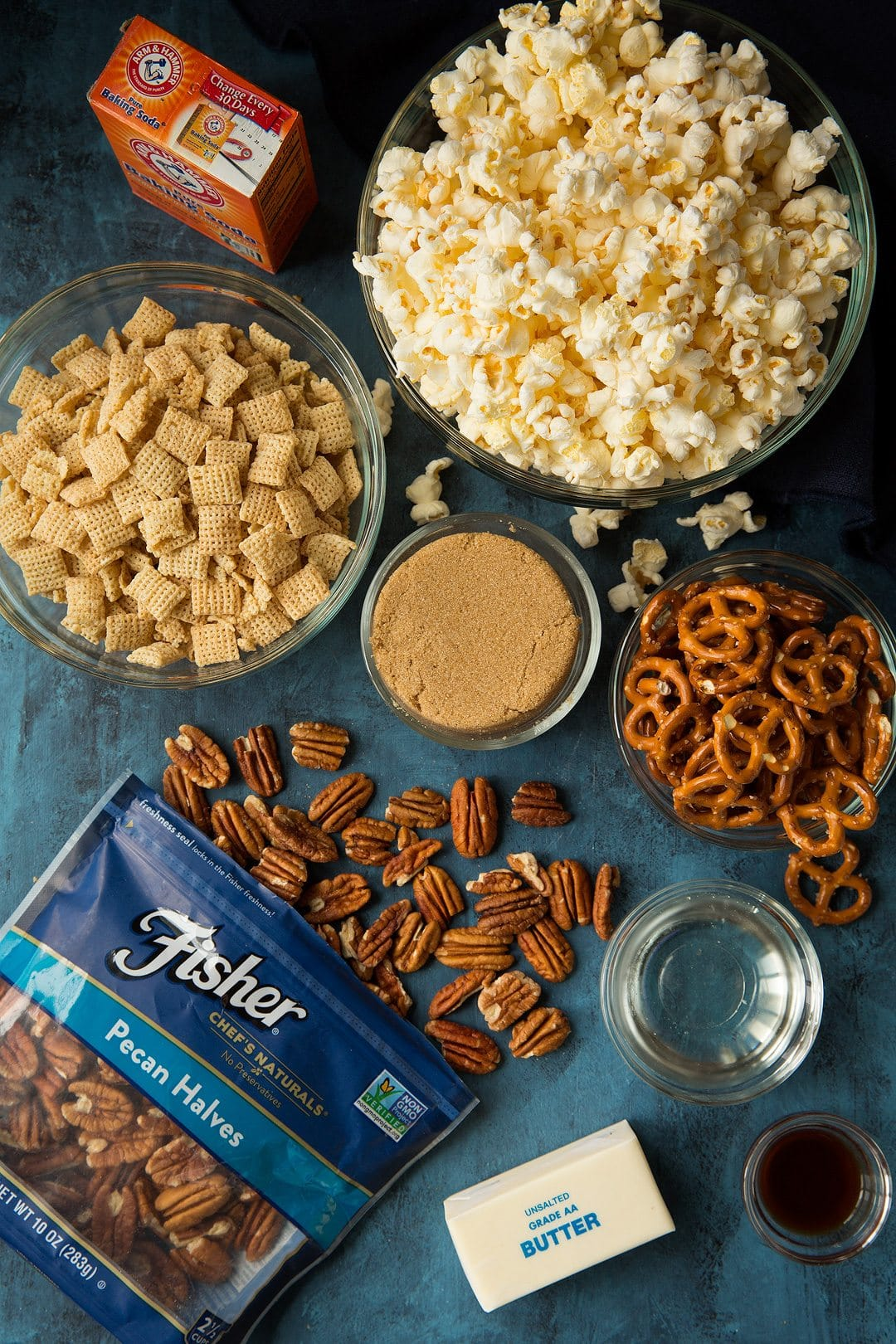 Crunchy Caramel Corn Snack Mix ingredients shown here.