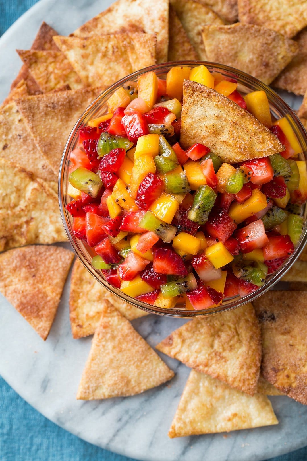 Fruit Salsa With Baked Cinnamon Sugar Chips Cooking Classy