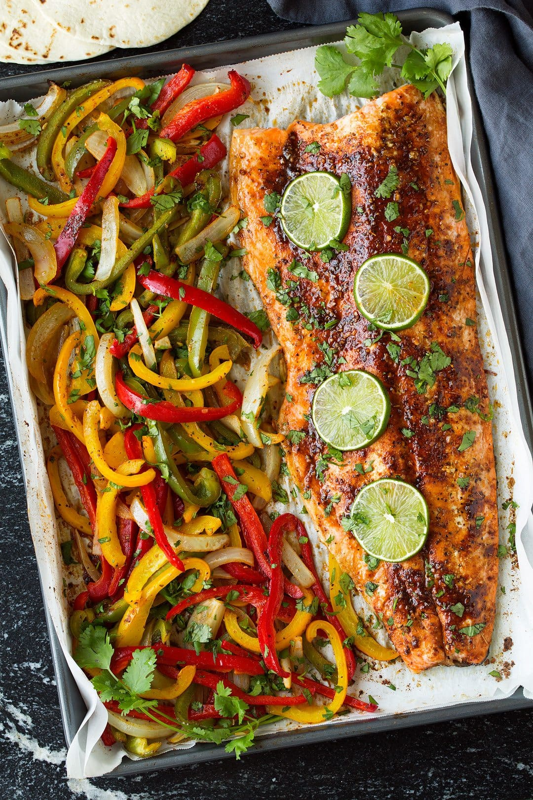 Sheet Pan Salmon And Avocado Fajitas Cooking Classy