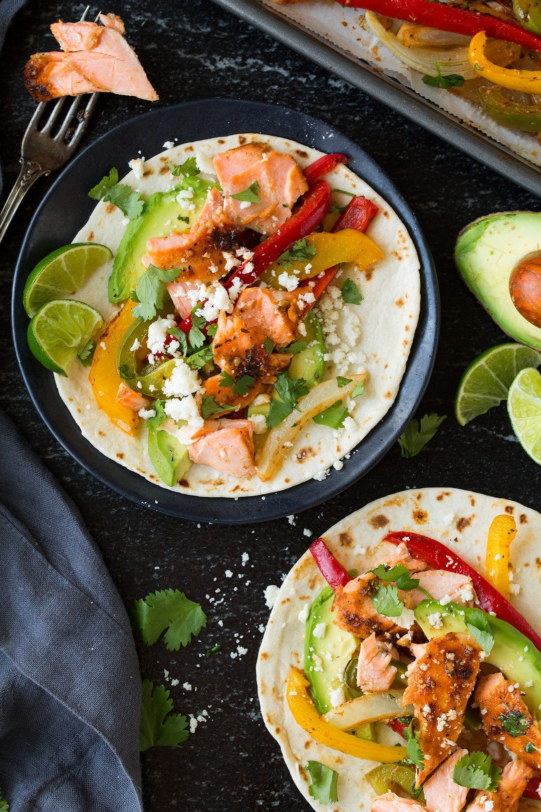 Sheet Pan Salmon and Avocado Fajitas