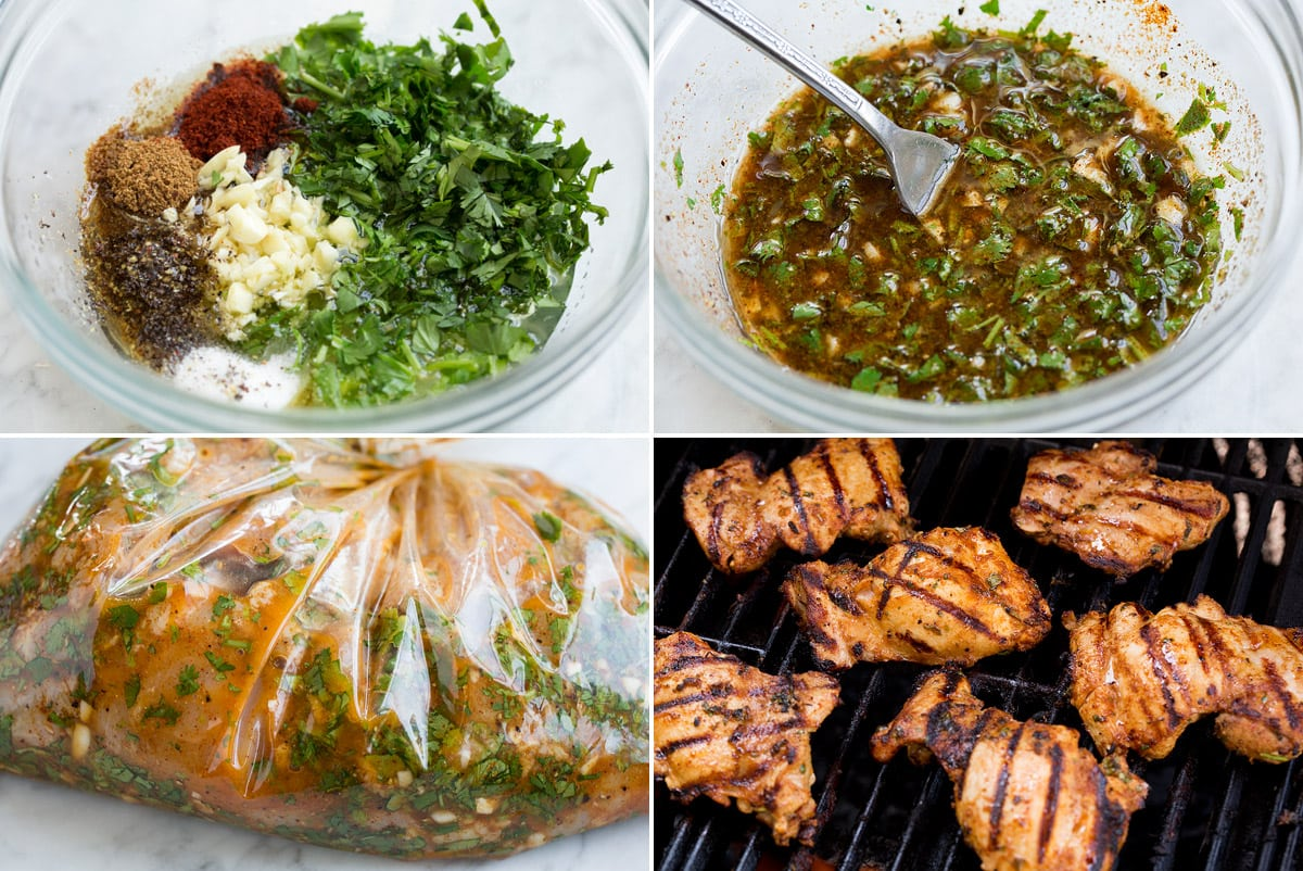 Collage image of 4 steps showing how to make street tacos. Shows mixing marinade, soaking chicken in marinade in a bag and grilling chicken on grill.