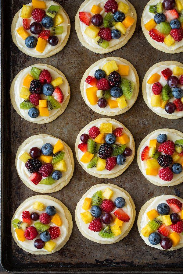 bare fruit sugar cookie fruit pizza