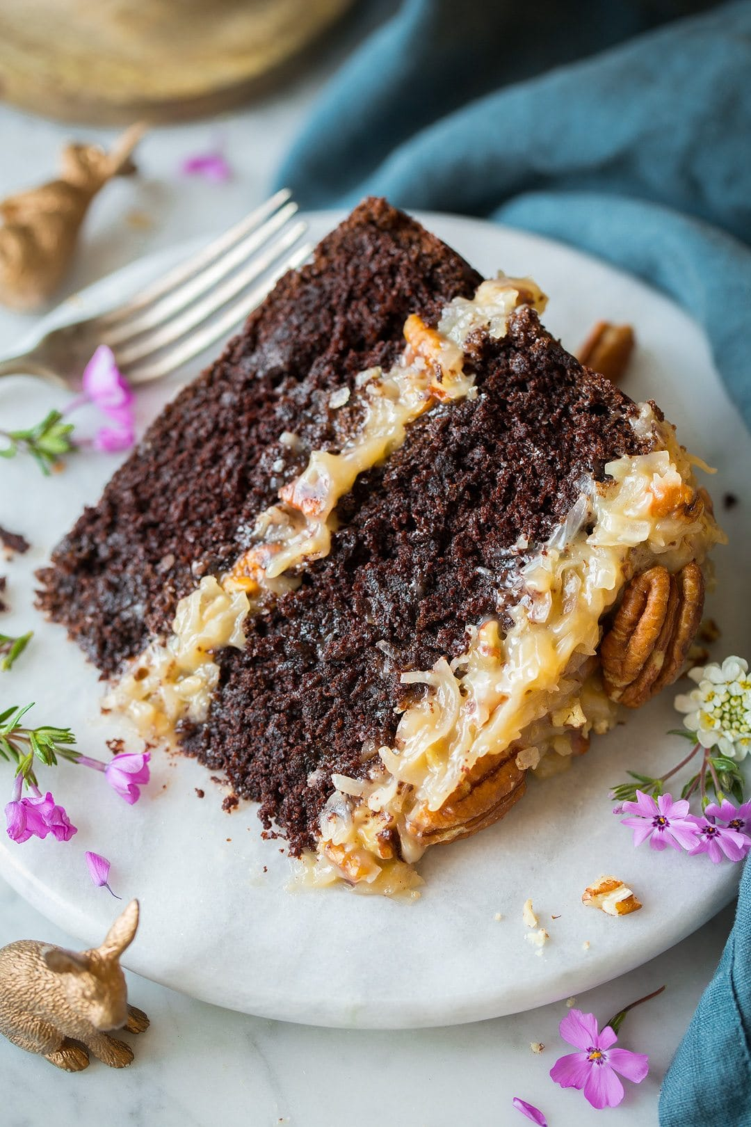 German chocolate cake slice.