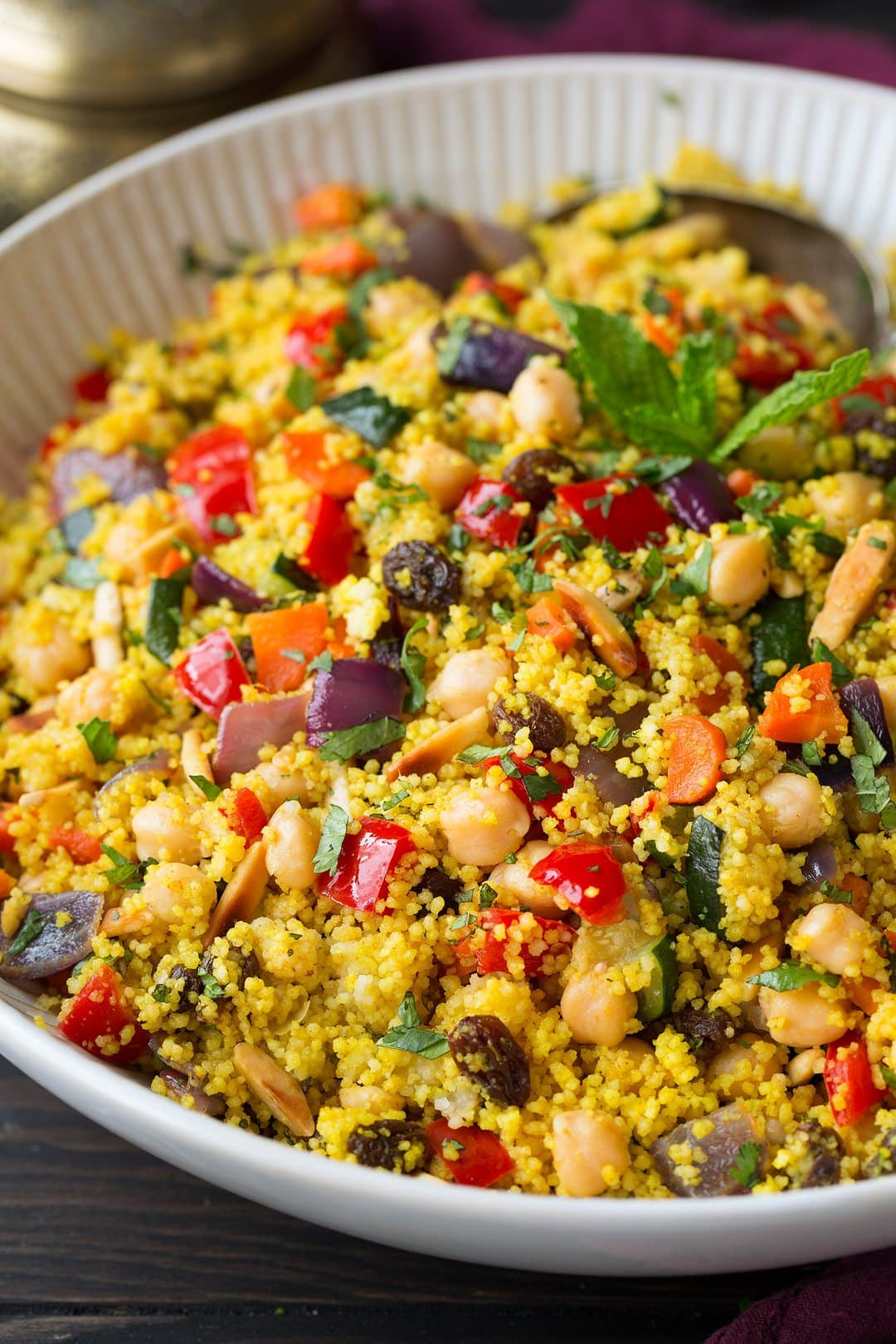 Couscous with Roasted Vegetables, Chick Peas and Almonds