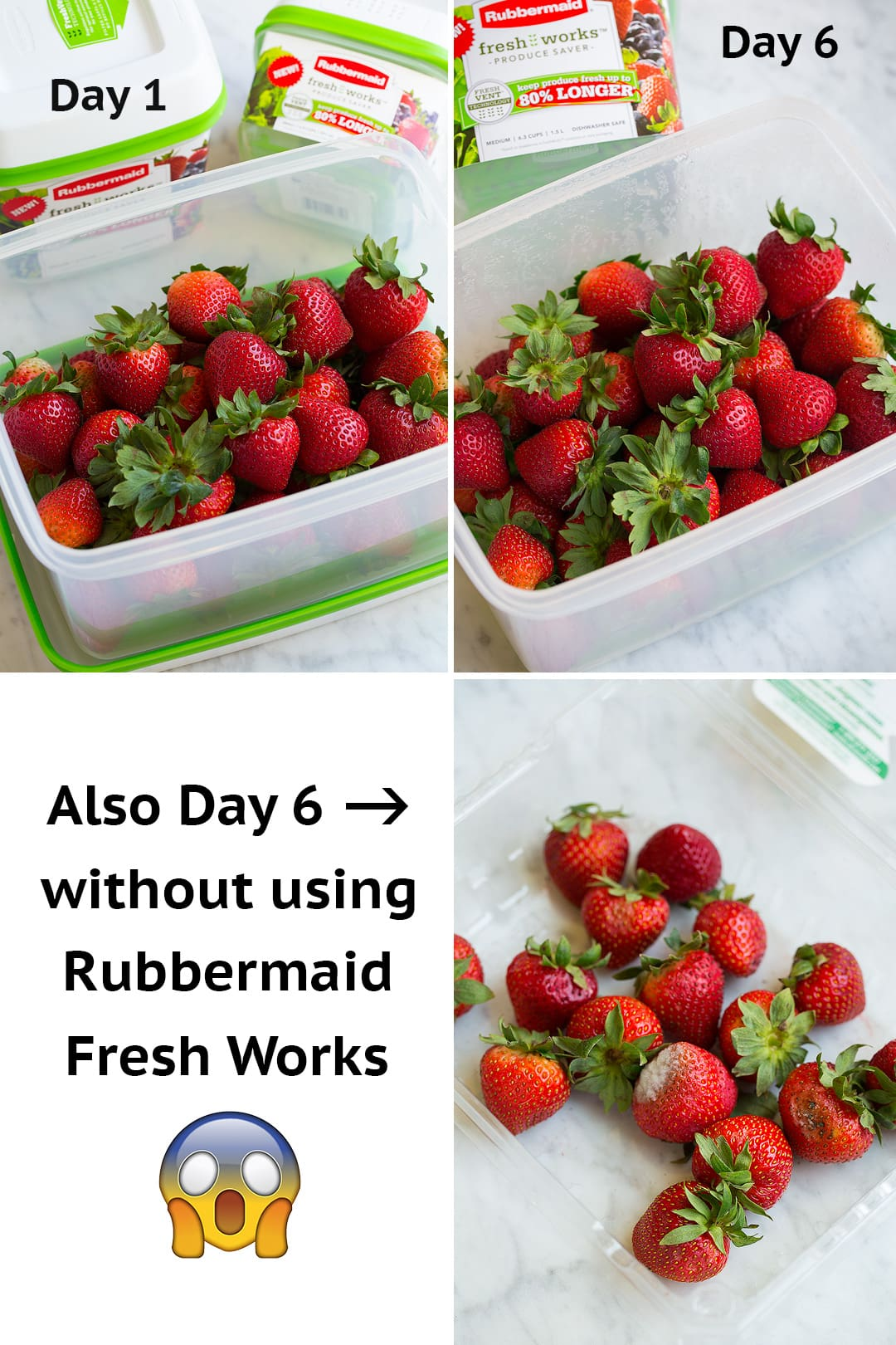 Step by step photos of how to keep strawberries fresh