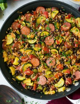 Sausage Zucchini Brown Rice Skillet