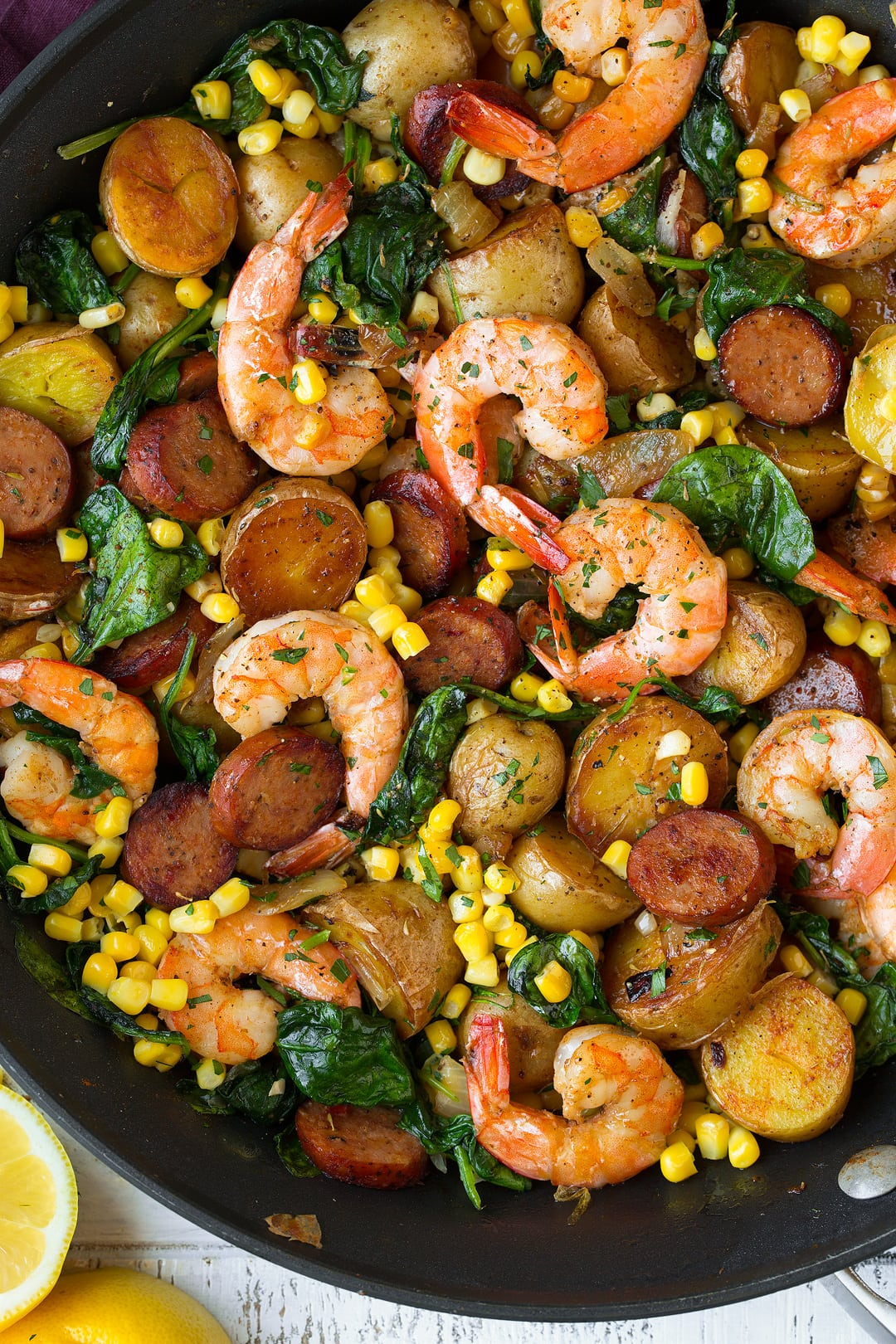 Shrimp Boil made in a skillet