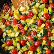 Skillet Garlic Parmesan Summer Veggies