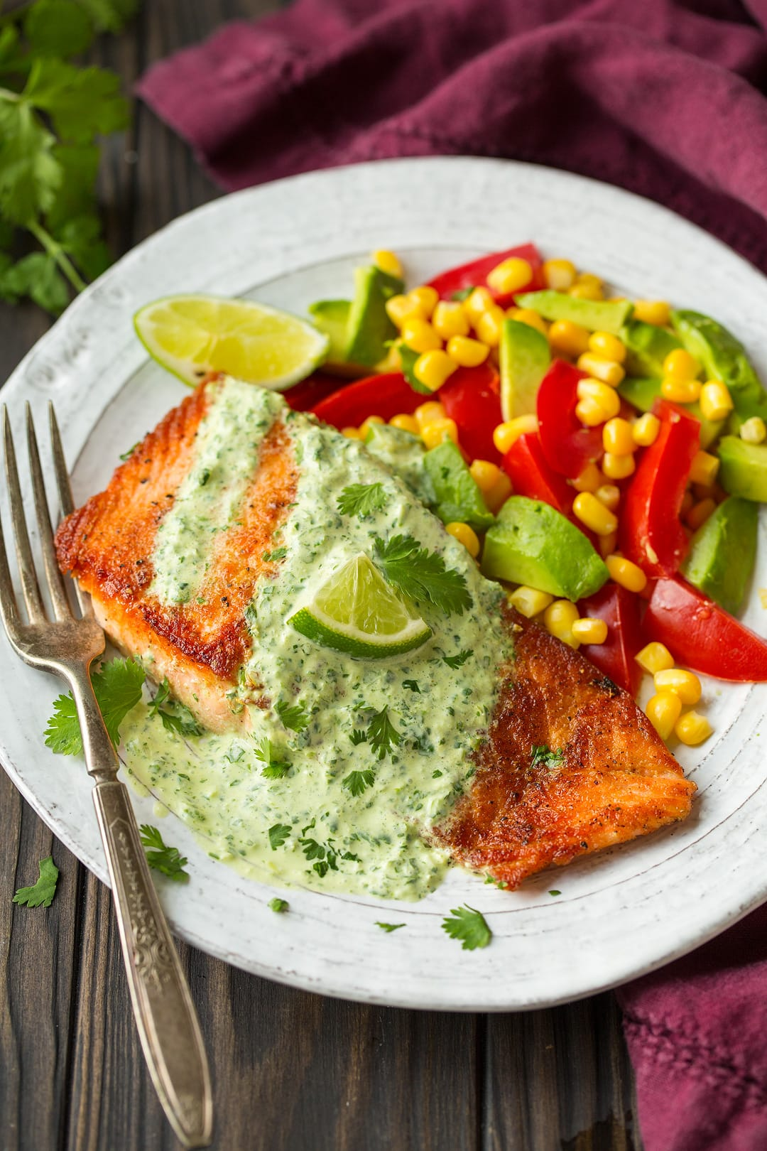 Skillet Seared Salmon with Creamy Cilantro Lime Sauce - Cooking Classy