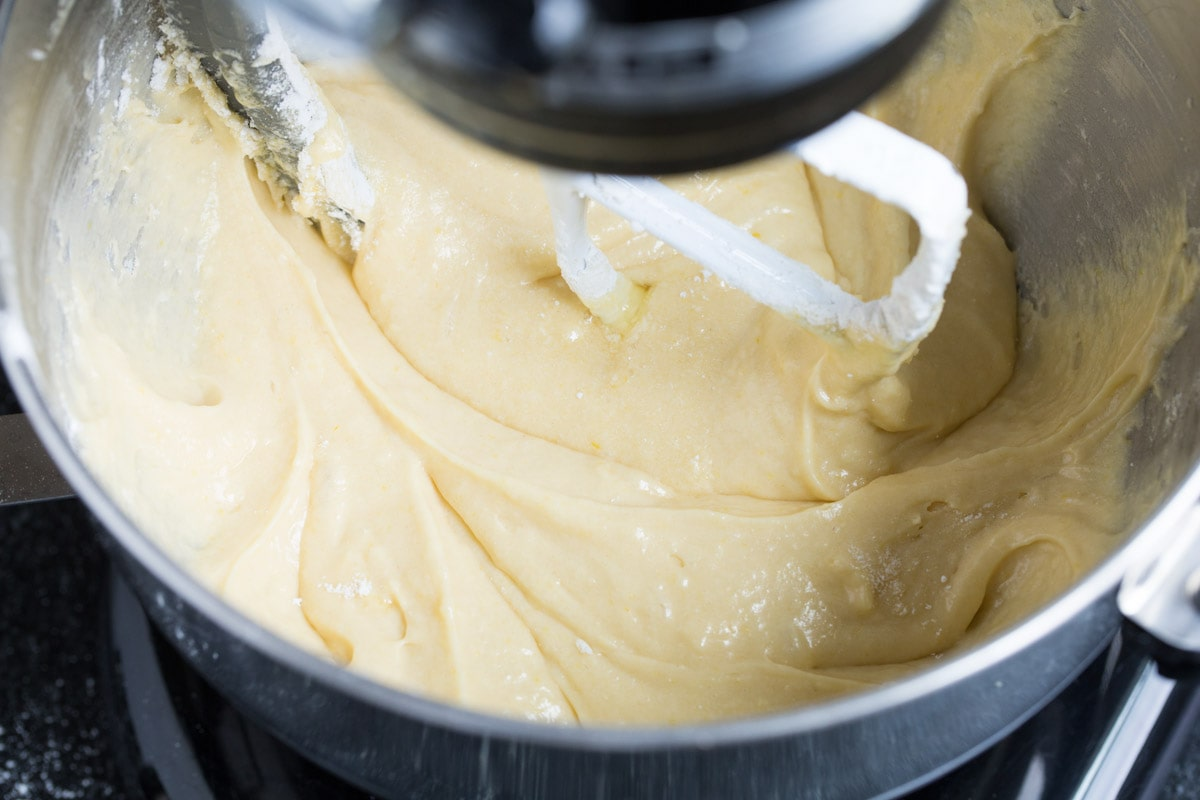 Prepared tres leches cake batter in a mixing bowl.